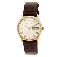 Rotary Gs02324 32 Men's Ultra Slim Leather Strap Watch Dark Brown Cream