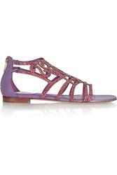 Rene Caovilla Crystal Embellished Satin And Leather Sandals Purple