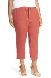 Plus Size Women's Caslon Linen Tie Front Crop Pants Red Cowhide