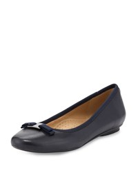 Neiman Marcus Salma Leather Bow Flat Navy