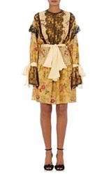 Faith Connexion Women's Sash Tie Floral Print Silk Crepe Dress Yellow