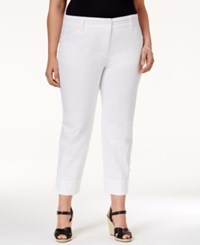 Charter Club Plus Size Tummy Control Button Hem Capri Pants Only At Macy's White Wash