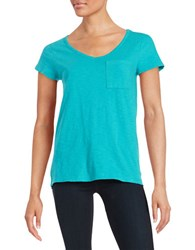 Lord And Taylor Solid V Neck Tee Tropic Sea