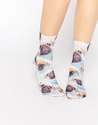 Monki Pug Print Socks Rainbow Pug Multi