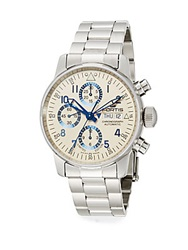 Fortis Flieger Stainless Steel Beige Chronograph Watch Silver Beige