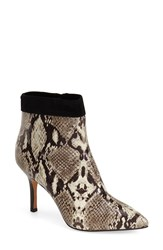 Nicole Miller 'Chelsea' Pointy Toe Bootie Women Black White Snake Suede