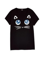 Karl Lagerfeld Choupette Big Eyes T Shirt Black