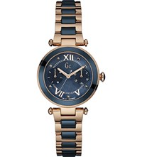 Gc Y06009l7 Ladychic Rose Gold Plated And Stainless Steel Watch Blue