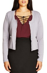 City Chic Plus Size Women's Lace Back Cardigan Dove