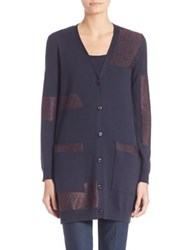 Escada Metallic Detail Longline Cardigan Midnight