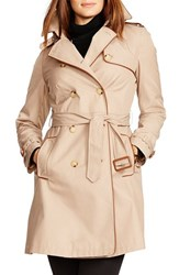 Lauren Ralph Lauren Plus Size Women's Faux Leather Trim Trench Coat Racing Khaki