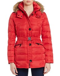 Vince Camuto Faux Fur Trimmed Puffer Jacket Red