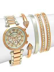 Adrienne Vittadini Two Tone Stainless Steel Bracelet Watch Set Rose Gold Silver