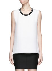 Rag And Bone 'Romy' Sport Stripe Neck Silk Tank Top White