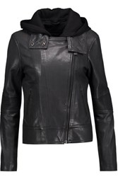Mackage Leather Hooded Biker Jacket Charcoal