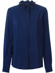 Msgm Frilled Collar Shirt Blue