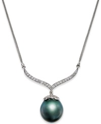 Macy's Black Tahitian Pearl 12Mm And Diamond 3 8 Ct. T.W. Pendant Necklace In 14K White Gold