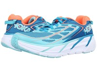 Hoka One One Clifton 3 Blue Jewel Neon Coral Women's Shoes