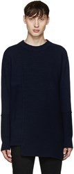 Diesel Black Gold Navy Asymmetric Collage Sweater