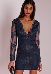 Missguided Premium Plunge Embroidered Lace Bodycon Dress Navy Blue