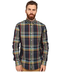 Original Penguin Long Sleeve P55 Plaid Dark Sapphire Men's Long Sleeve Button Up Blue