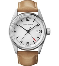 Georg Jensen Delta Classic Stainless Steel And Leather Watch 42Mm
