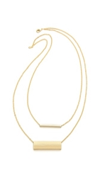 Double Rectangle Necklace Gold