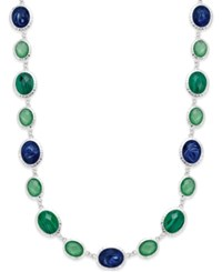 Charter Club Silver Tone Blue Green Chain Necklace Only At Macy's