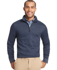 Van Heusen Big And Tall Heathered Quarter Zip Pullover Sweater Blue Black Iris