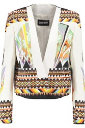 Just Cavalli Printed Crepe Blazer White