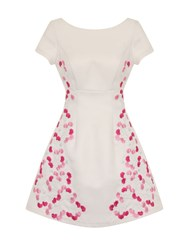 Chi Chi London Floral Embroidered Dress White