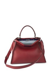 Fendi Peekaboo Colorblock Leather Satchel Red Peacock