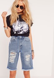 Missguided Cropped Ripped Knee Denim Shorts Blue Blue