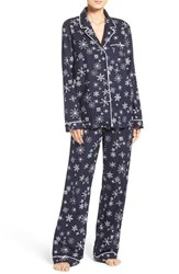 Nordstrom Women's Lingerie Flannel Pajamas Navy Peacoat Snowflakes