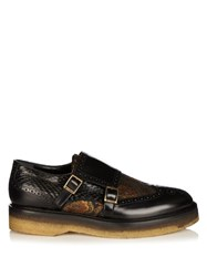 Etro Monk Strap Jacquard Leather And Snakeskin Loafers Black Multi