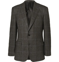Gieves And Hawkes Brown Slim Fit Checked Wool And Cotton Blend Blazer