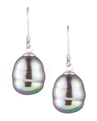 Baroque Pearl Drop Earrings Gray Majorica