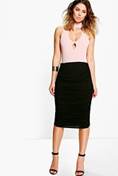 Boohoo Rouched Side Jersey Midi Skirt Black