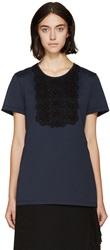 Burberry Navy Lace Appliqua T Shirt