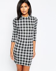 Only Checked Bodycon 3 4 Sleeve Dress Black