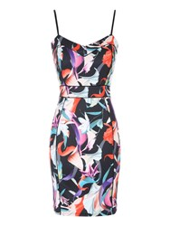 Jane Norman Printed Bodycon Dress Multi Coloured