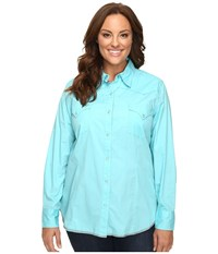 Roper Plus Size 00456 Solid Poplin Aqua Blue Women's Clothing
