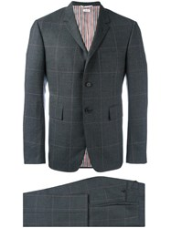 Thom Browne Checked Suit Grey