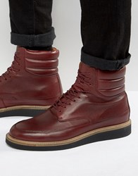 Zign Leather Lace Up Boots Red