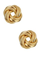 14K Yellow Gold Textured And Shiny Large Love Knot Stud Earrings Metallic