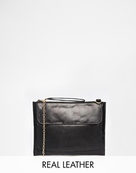Oasis Leather Bag With Chain Black