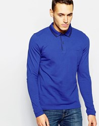 Dkny Polo Shirt Herringbone And Chainstitch Blue