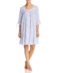 Eileen West Lawn Long Sleeve Short Gown White Ground Blue Roses