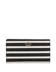 Kate Spade Striped Snap Card Holder Black Multi