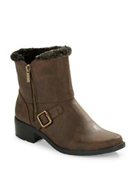 Anne Klein Lyvia Faux Fur Trimmed Ankle Boots Brown